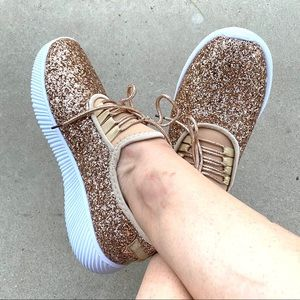 New Rose Gold Glitter Sneakers Tennis Shoes